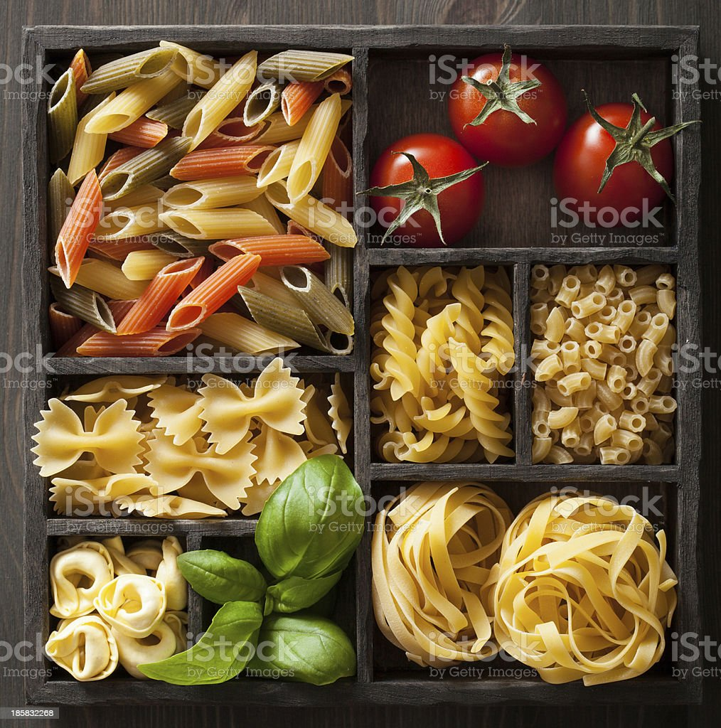 various pasta in black wooden box royalty-free stock photo