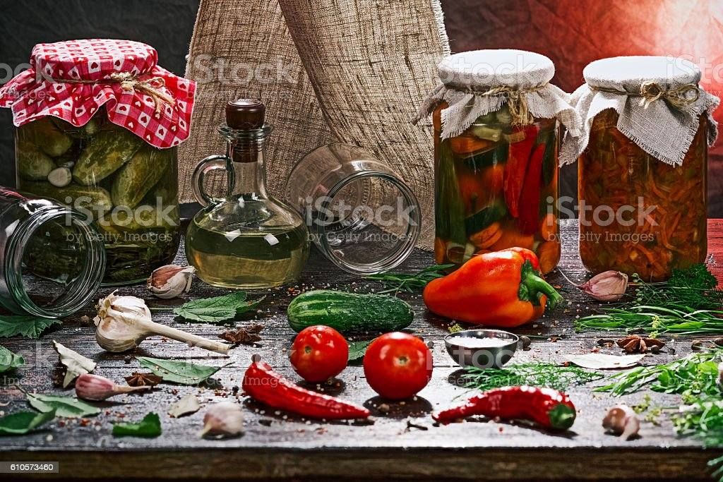 Various pickles and ingredients stock photo