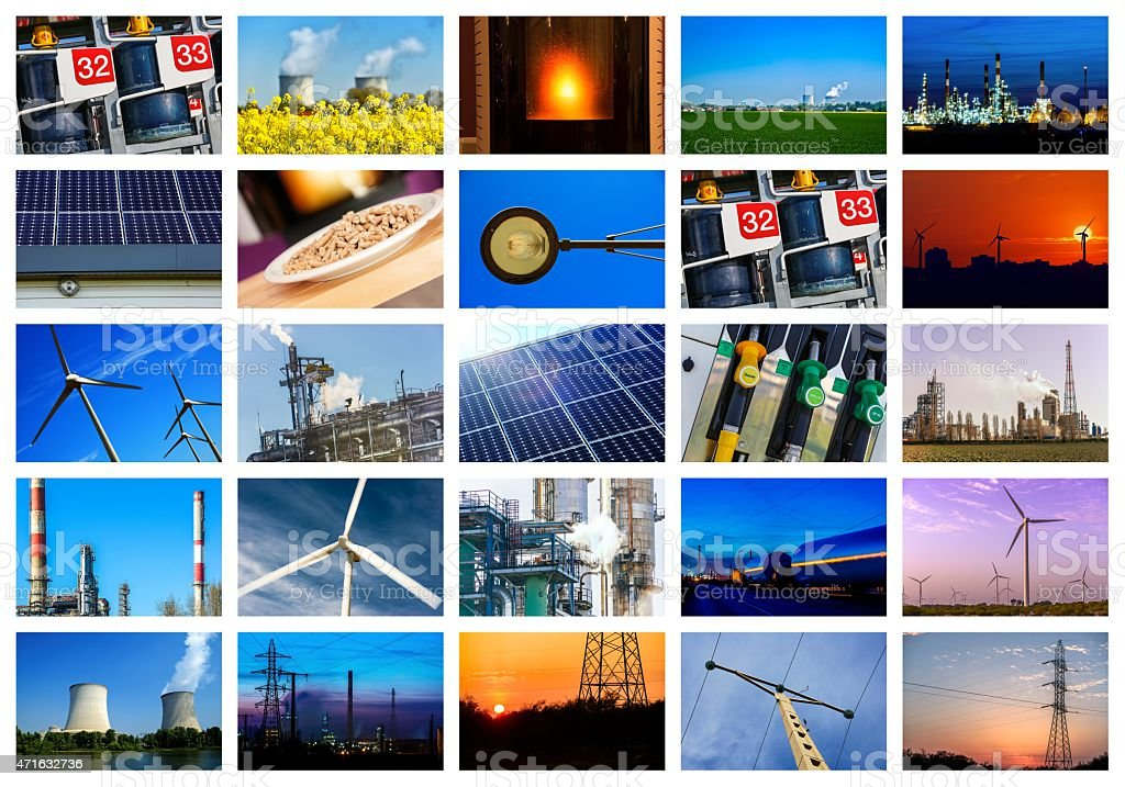 Various pictures related to power and energy on a collage stock photo