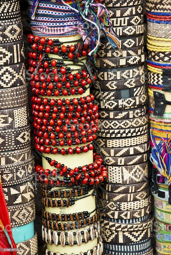 Various pieces of bracelets stock photo