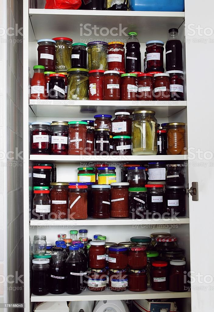 various preserves in my cupboard royalty-free stock photo