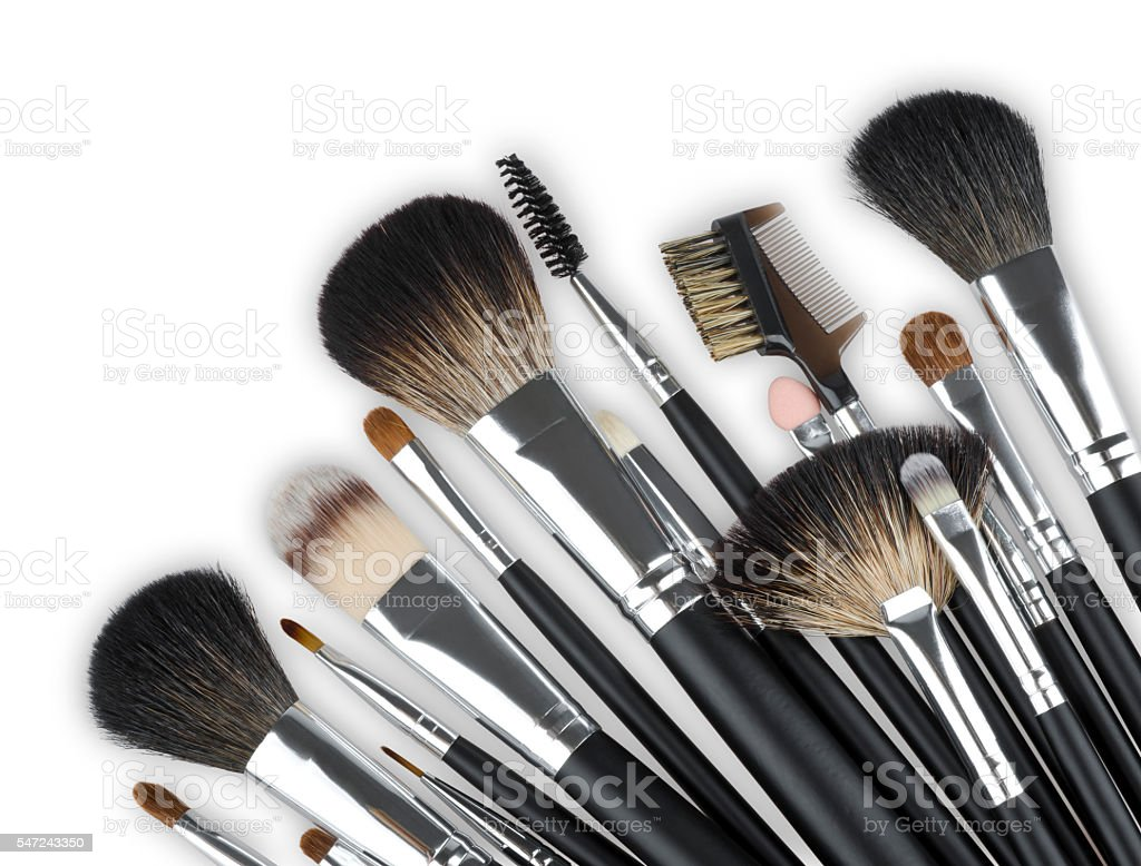 Various professional makeup cosmetic brushes isolated on white background stock photo