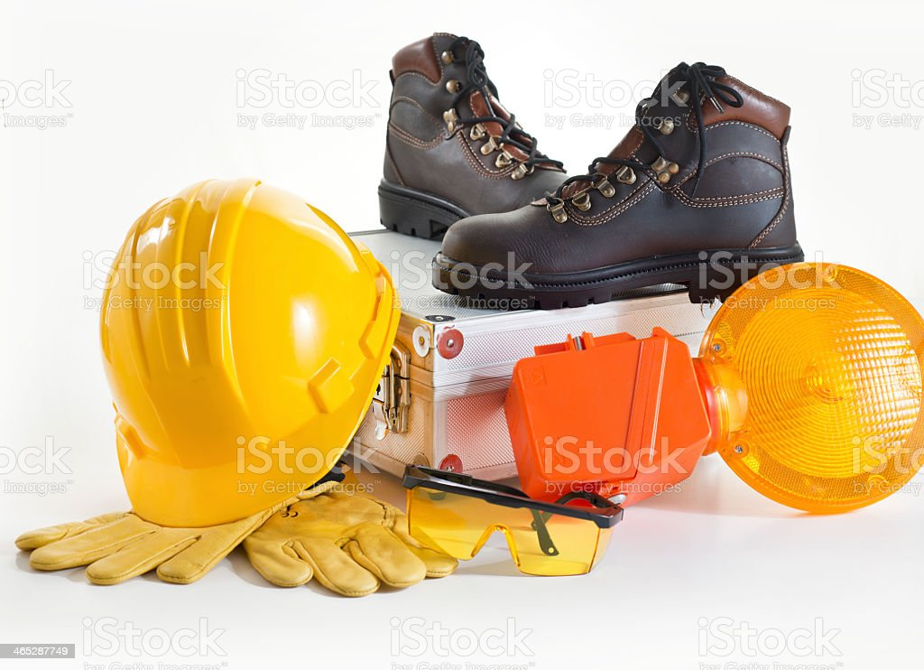 Various protective wear for a construction worker stock photo