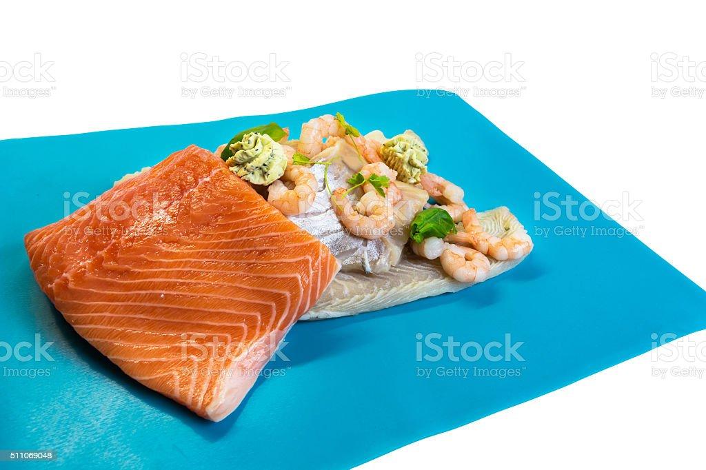 Various raw fish species stock photo