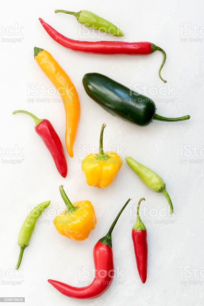 Various Raw Peppers stock photo