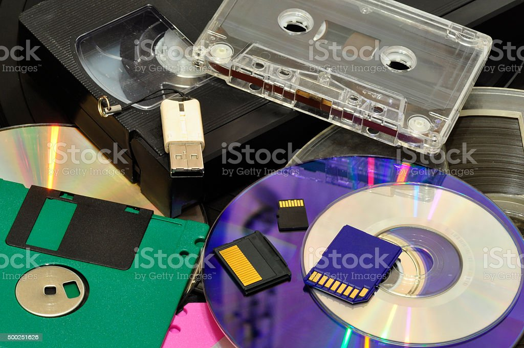 various recording devices stock photo