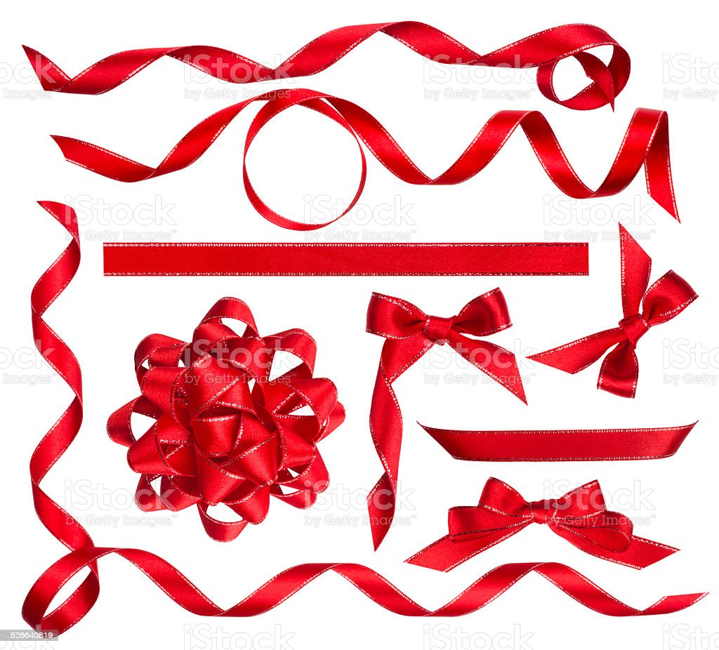Various red bows, knots and ribbons isolated on white stock photo