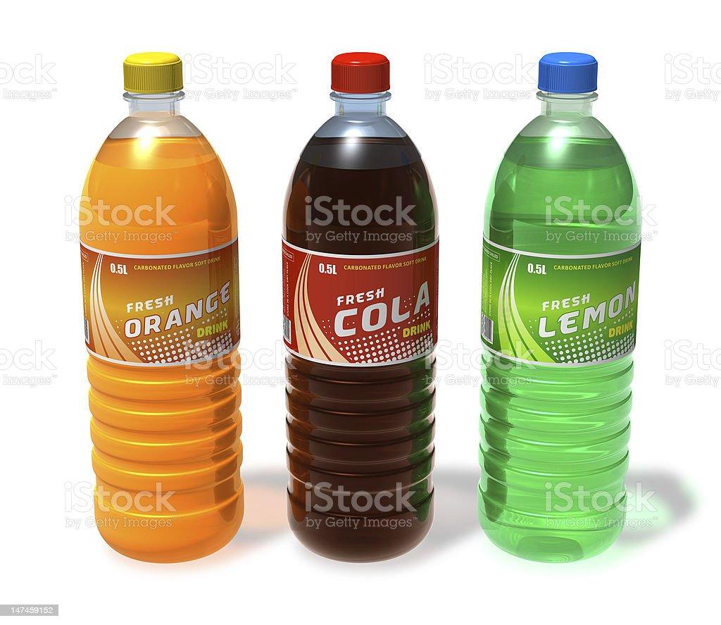 Various refreshing drinks in plastic bottles stock photo