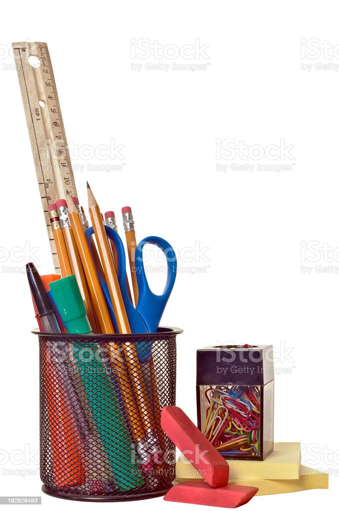 Various school supplies isolated on a white background stock photo
