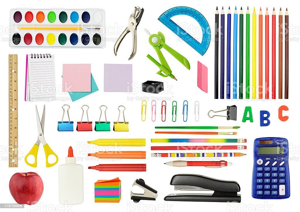 Various school supplies on white background stock photo
