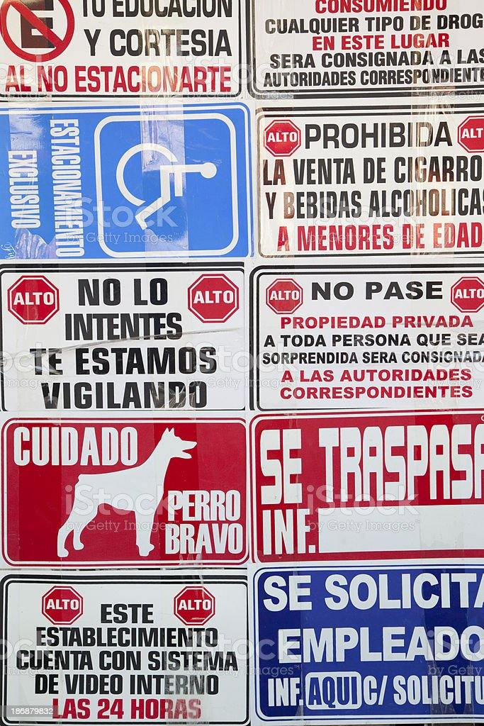 Various Signs in Spanish, Symbol royalty-free stock photo