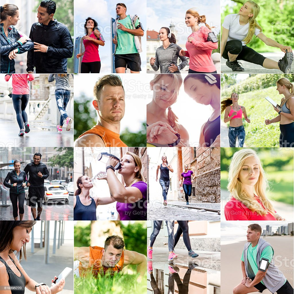 Various size of mixed people of sport collage stock photo