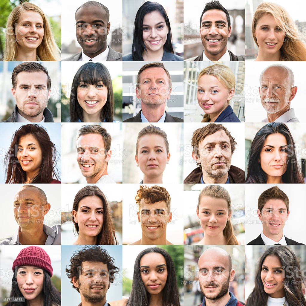 various size of mixed race characters collage stock photo