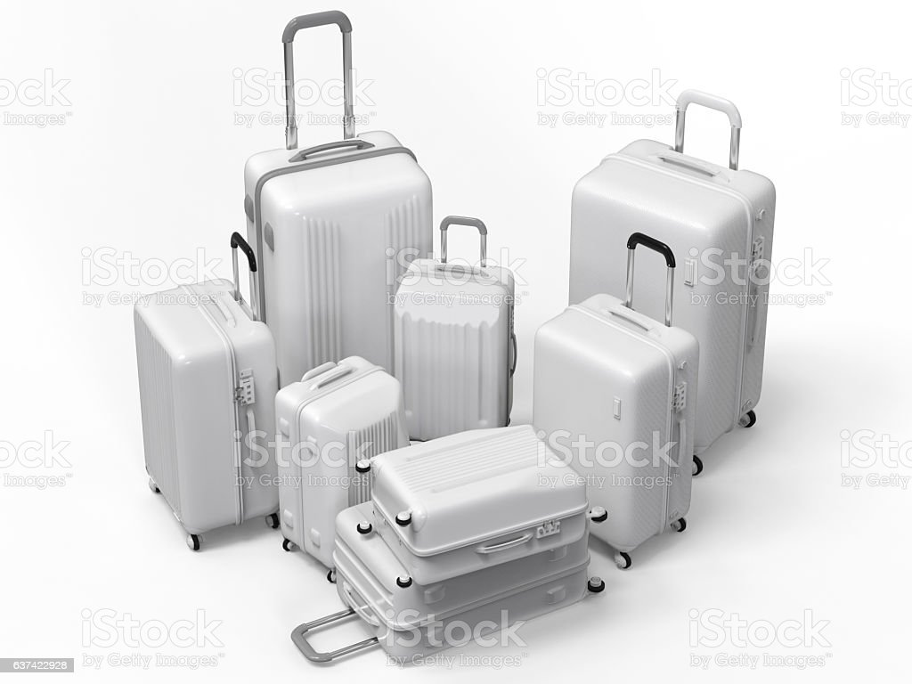 various size of white luggages stock photo