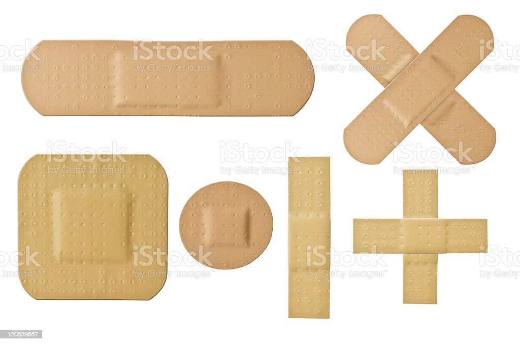 Various sizes and shapes of bandages used for first aid stock photo