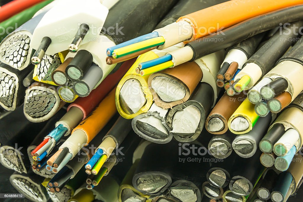 various sizes of old multi-core unarmored aluminum and copper cable stock photo