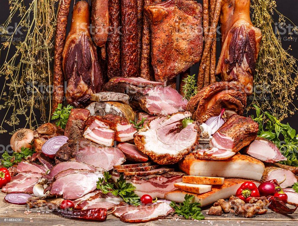 Various smoked pork meat stock photo