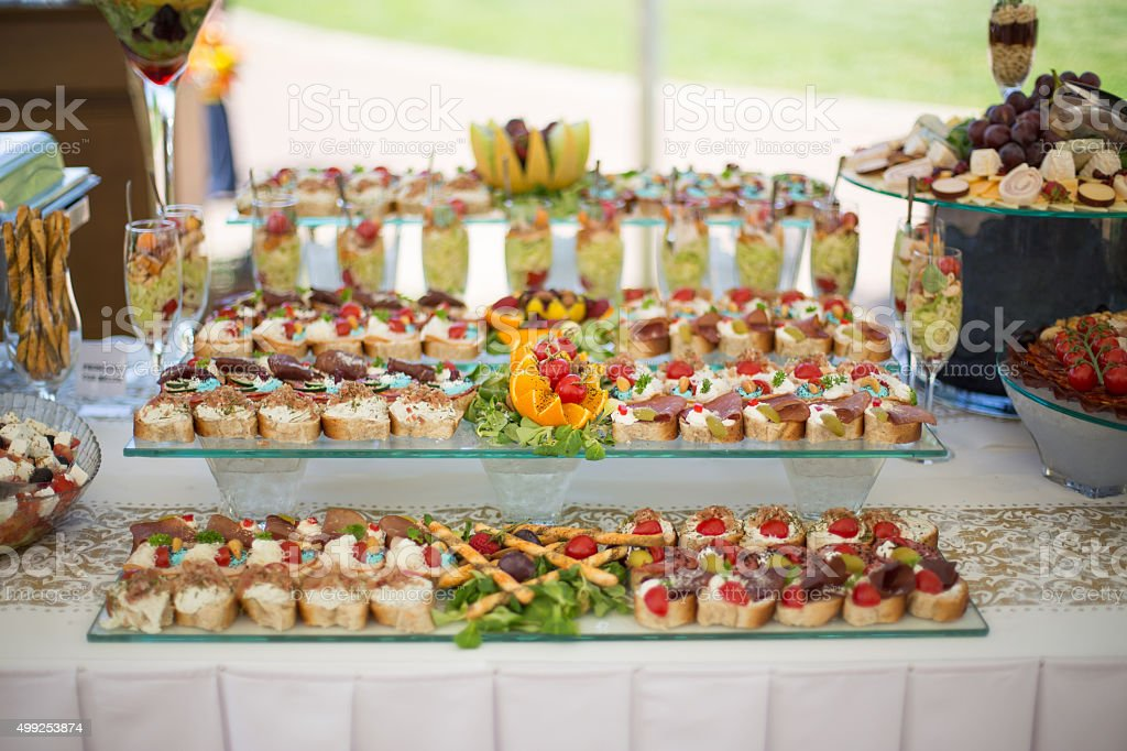 Various snacks on table,banquet food stock photo