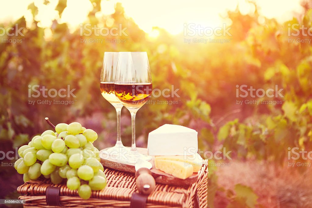 Various sorts of cheese and two glasses of white wine in the vineyard