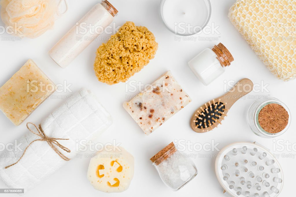 Various spa and beauty threatment products isolated on white background stock photo
