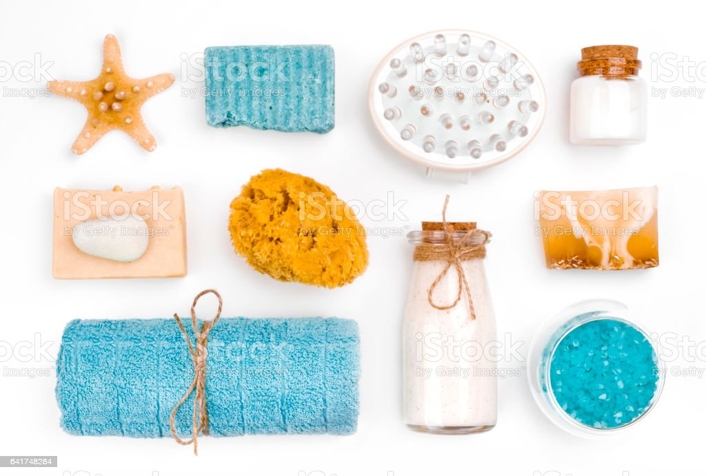 Various spa and wellness objects isolated on white background stock photo