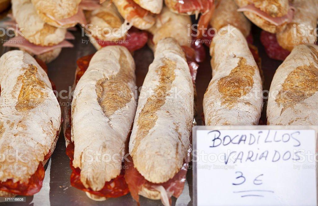 Various Spanish Bocadillos royalty-free stock photo