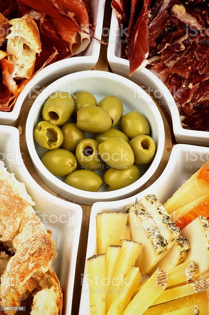 Various Spanish Snacks stock photo