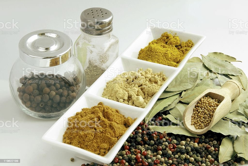 various spices  and condiments stock photo
