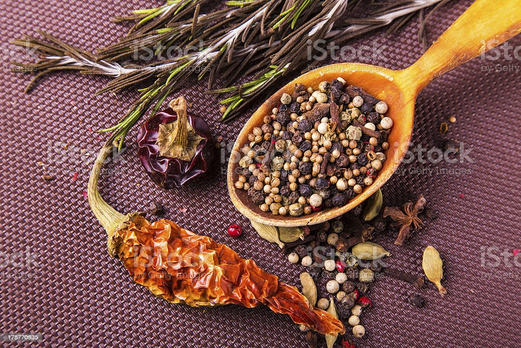 Various spices and herbs in a wooden spoon royalty-free stock photo