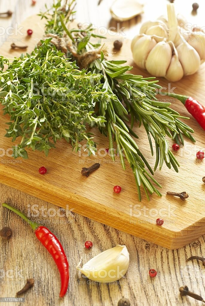 Various spices and herbs royalty-free stock photo