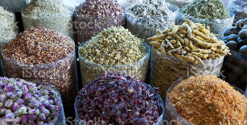 various spices at Spice Souk stock photo