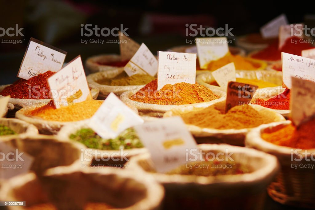 Various spices on farmer market stock photo