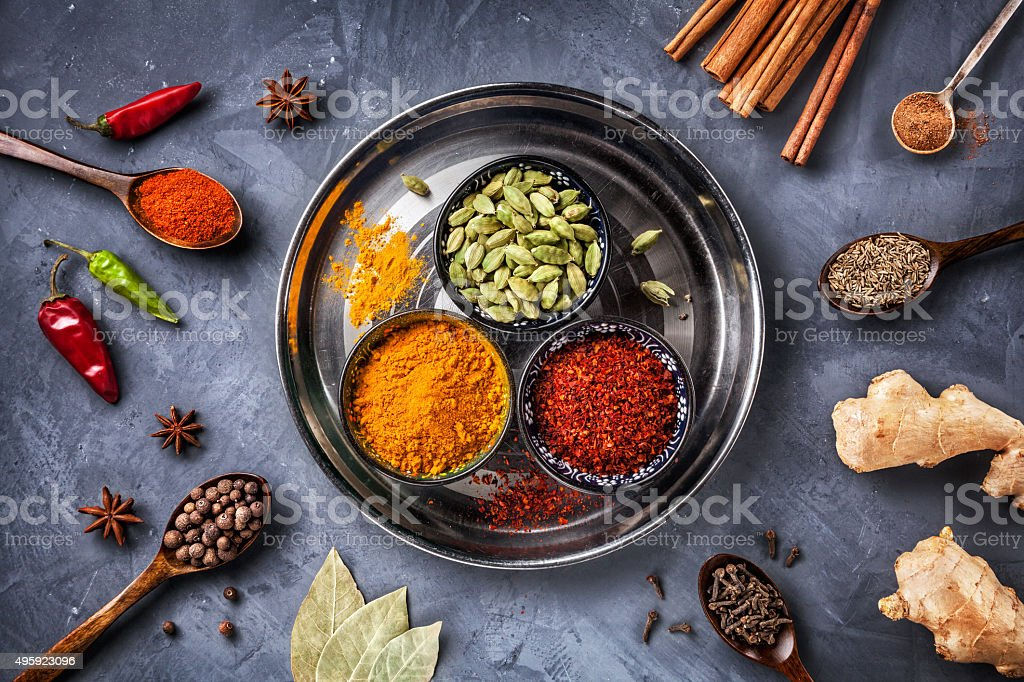 Various Spices on grunge background stock photo