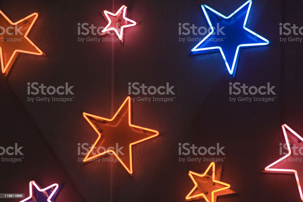 Various star shaped neon lights royalty-free stock photo