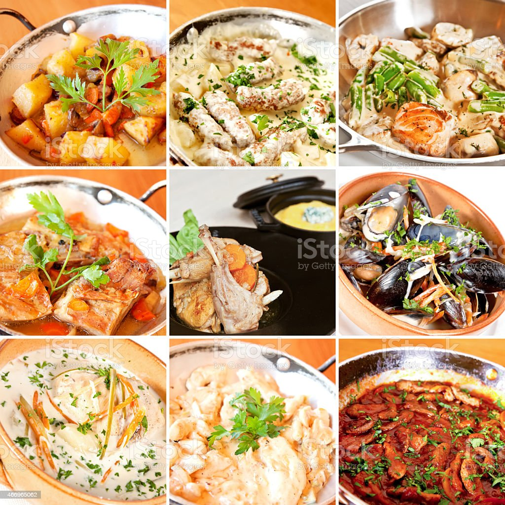 Various stew and ragout collage stock photo
