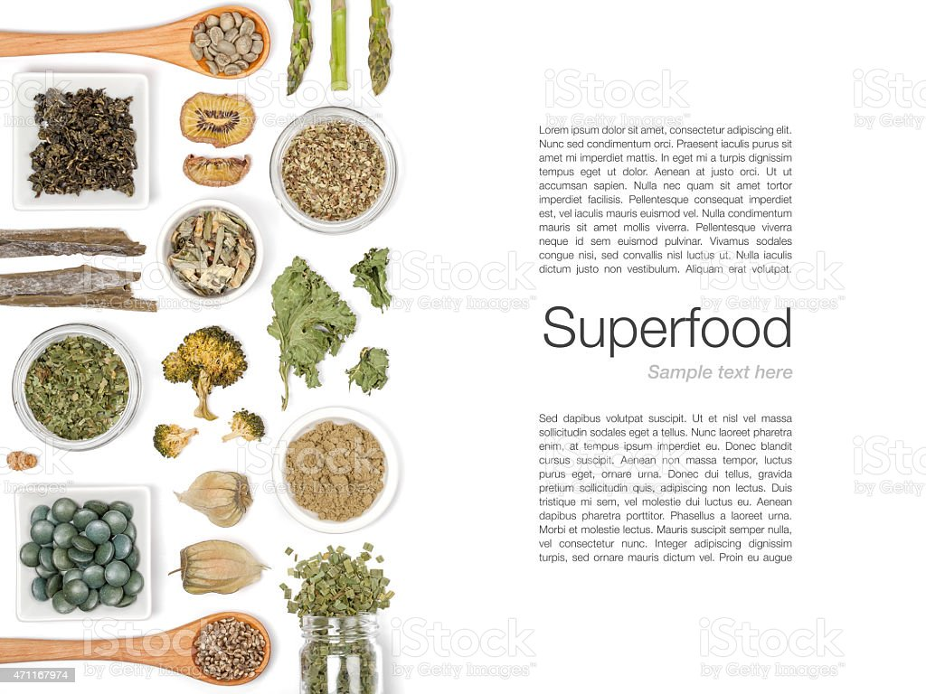 various superfood on white background stock photo