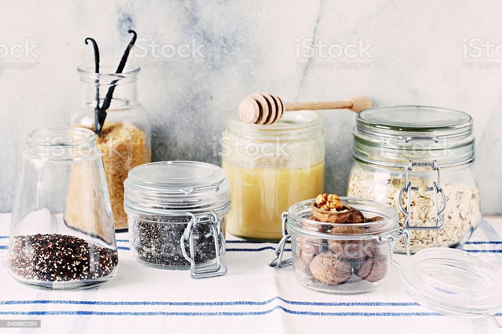 Various superfoods products for healthy eating concept. stock photo