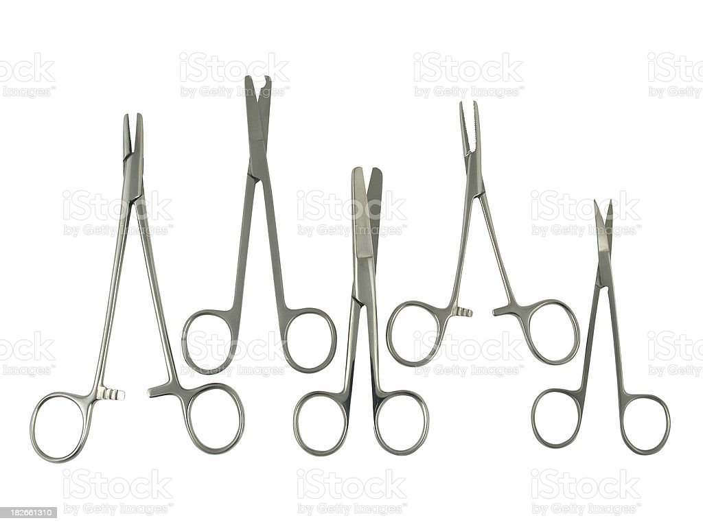 various surgical scissors stock photo