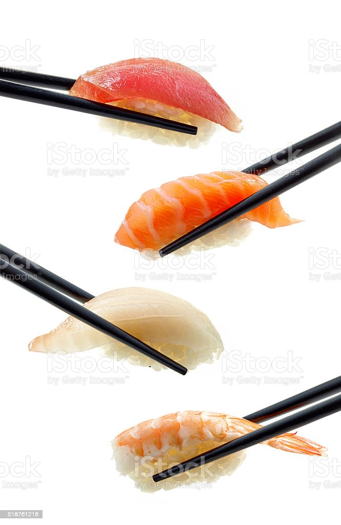 various sushi on white background stock photo