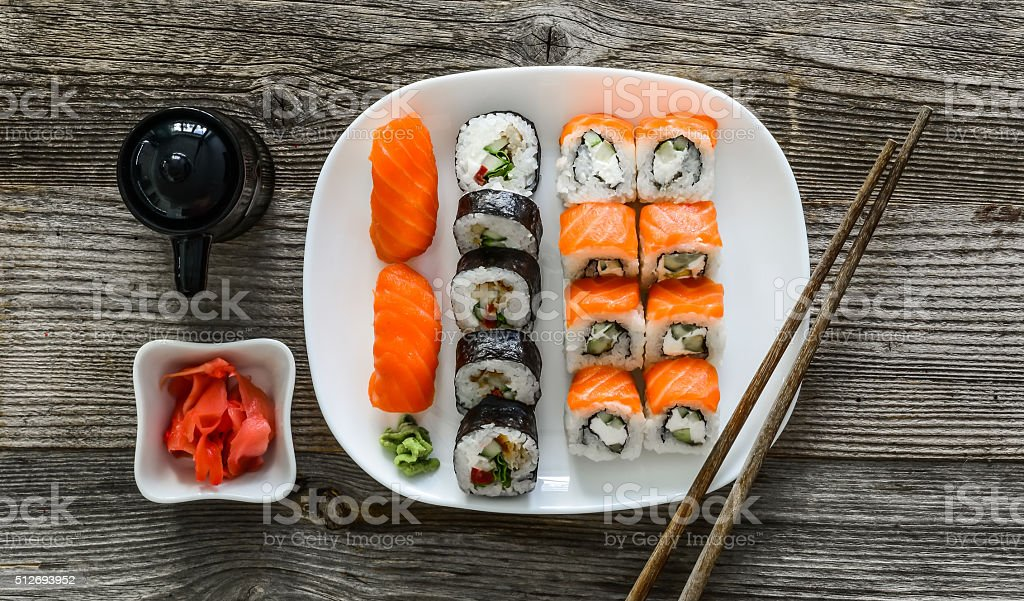 various sushi on white plate stock photo