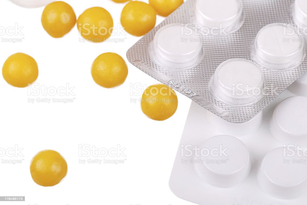 Various tablets and vitamins on white royalty-free stock photo
