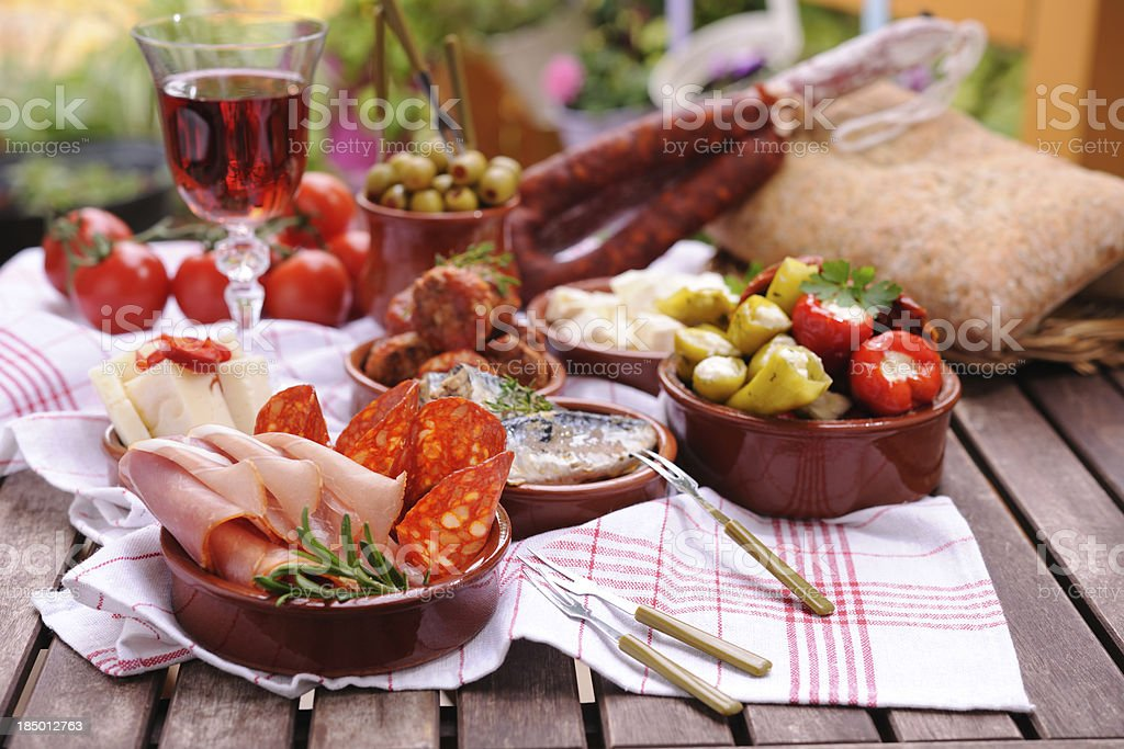 Various Tapas Plates stock photo