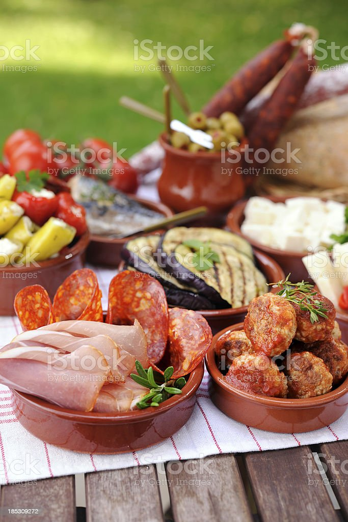 Various Tapas Plates royalty-free stock photo