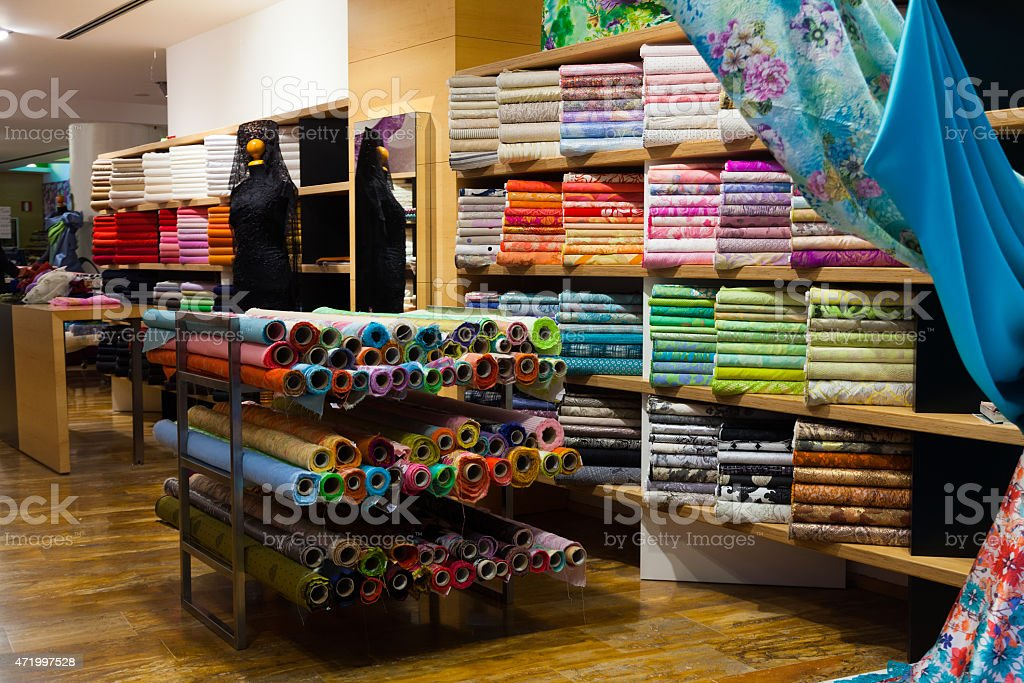 various textiles for sale stock photo