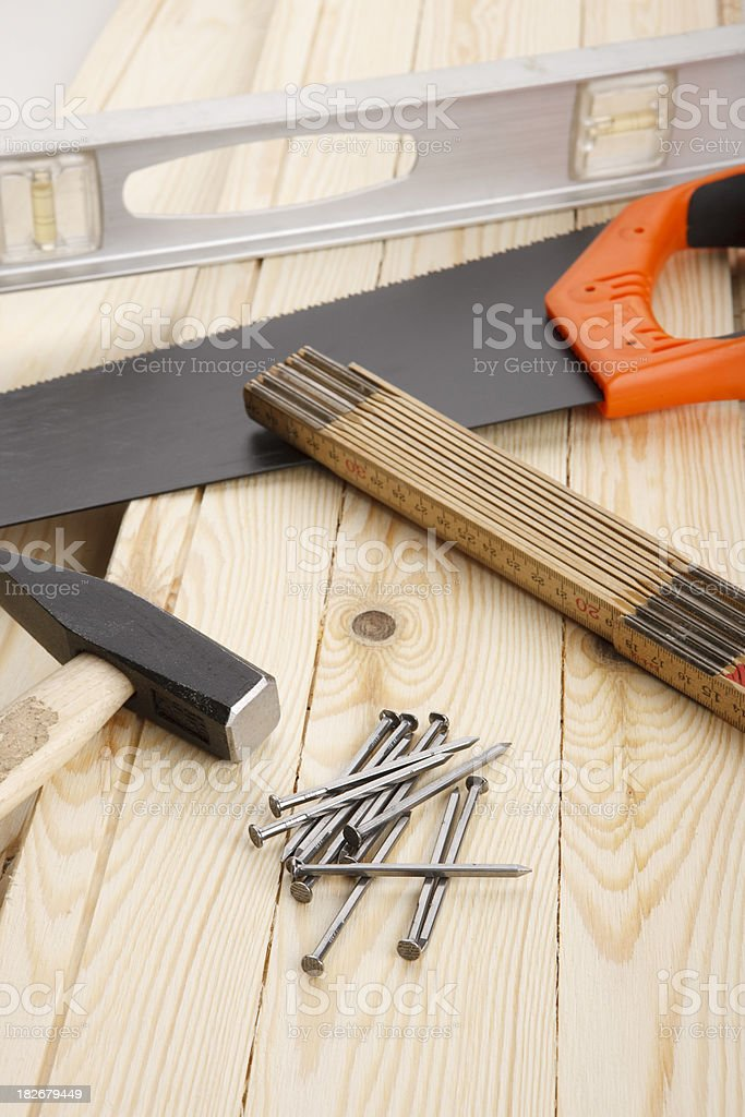 Various tools on lumber royalty-free stock photo