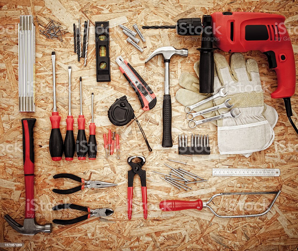 Various tools on plywood royalty-free stock photo