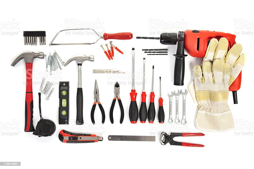 Various tools on white background royalty-free stock photo