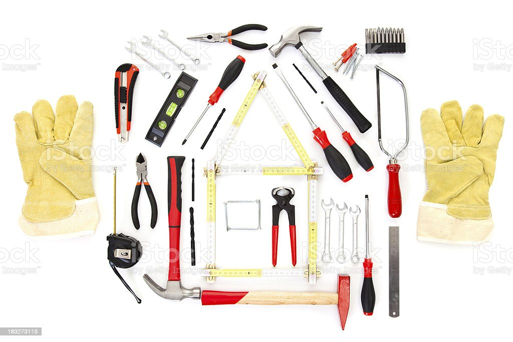 Various tools on white background stock photo
