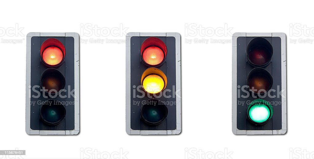 Various traffic light functionalities on a white background royalty-free stock photo