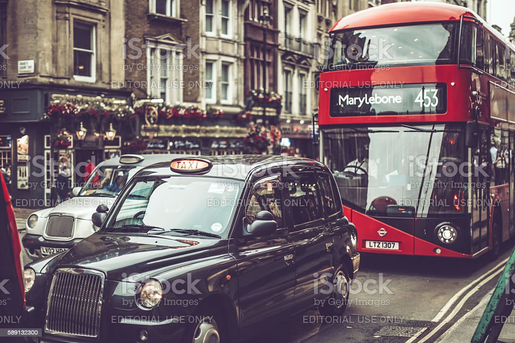 Various transport modes in London stock photo